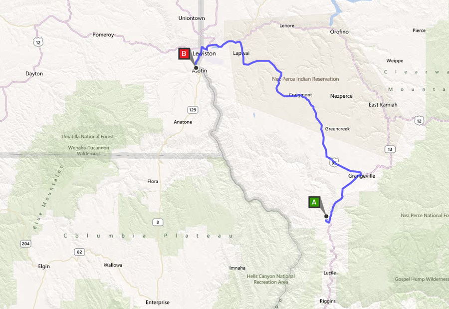 Lower Salmon River Shuttle Route